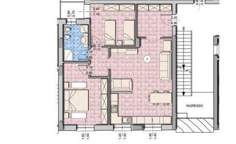 bozza di un appartamento  con due camere da letto e un bagno soluzione A