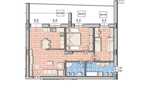 bozza di un appartamento  con tre camere da letto
