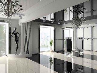 vista esterna di uno showroom in bianco e nero
