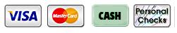 Visa, MasterCard, Cash, Check