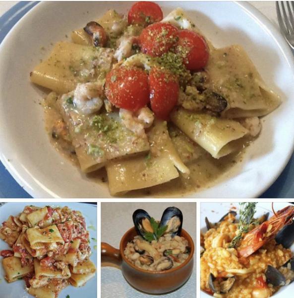 delle immagini di piatti di pasta e risotto al pesce