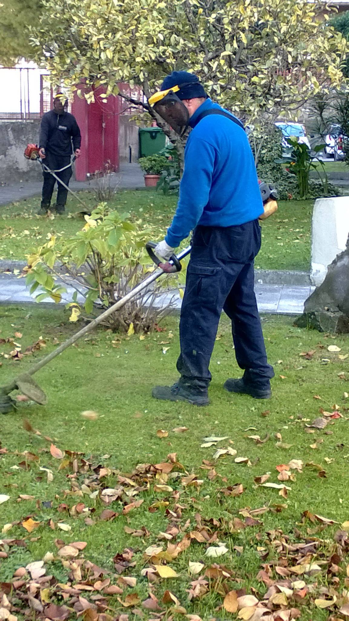 Persona mentre taglia l'erba