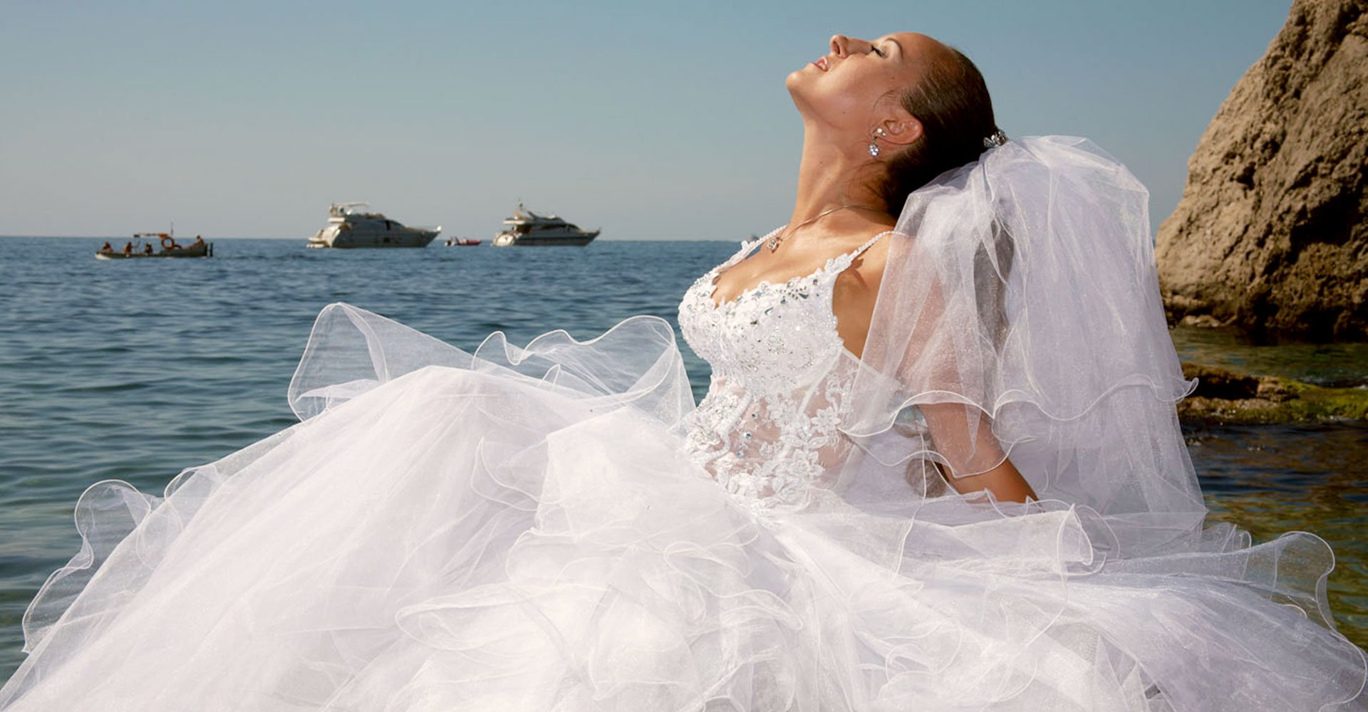 Bride on a boat