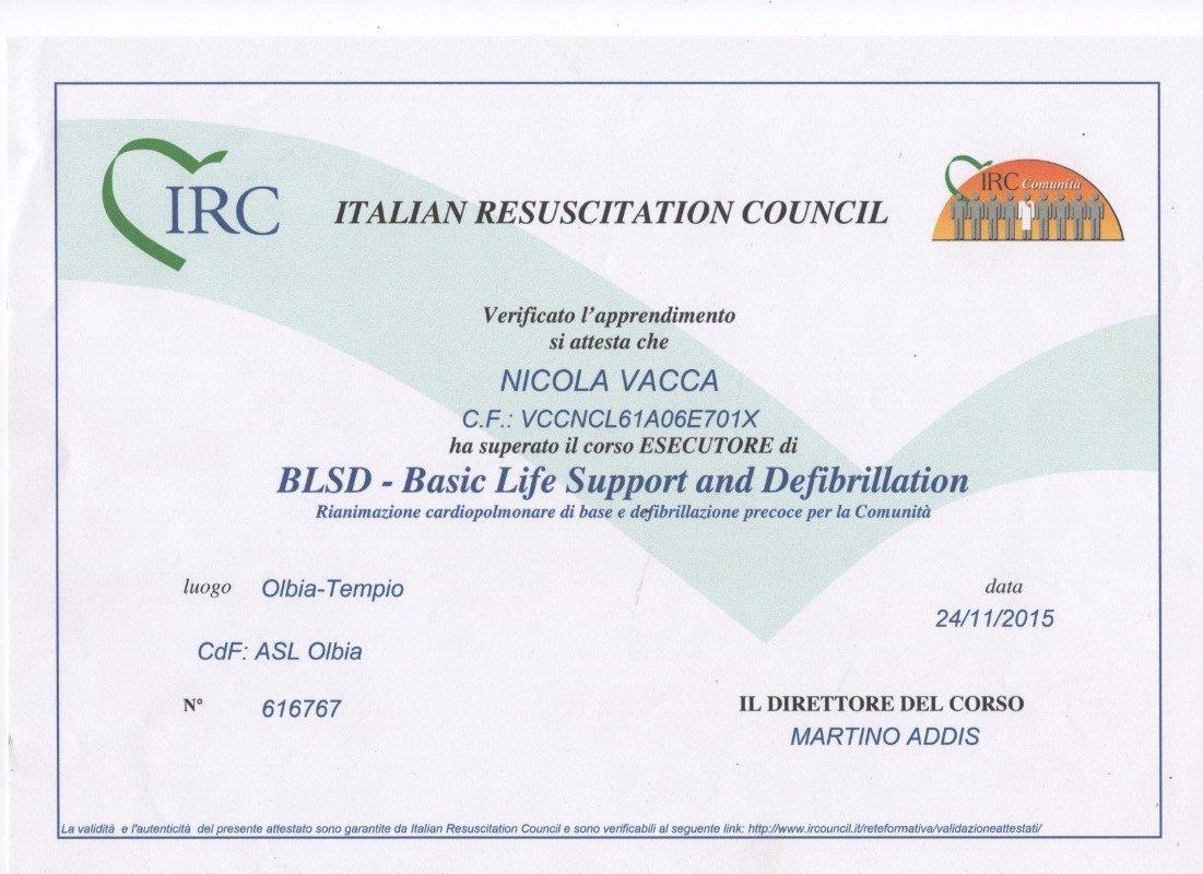 un certificato rilasciato da Italian resuscitation council