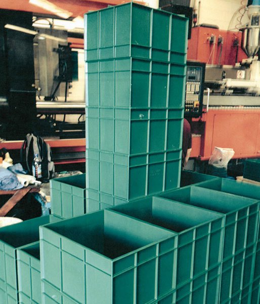 stack of green crates