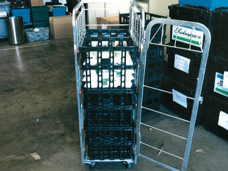 crates on stacking trolleys