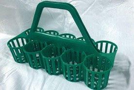 green plastic bottle carrier