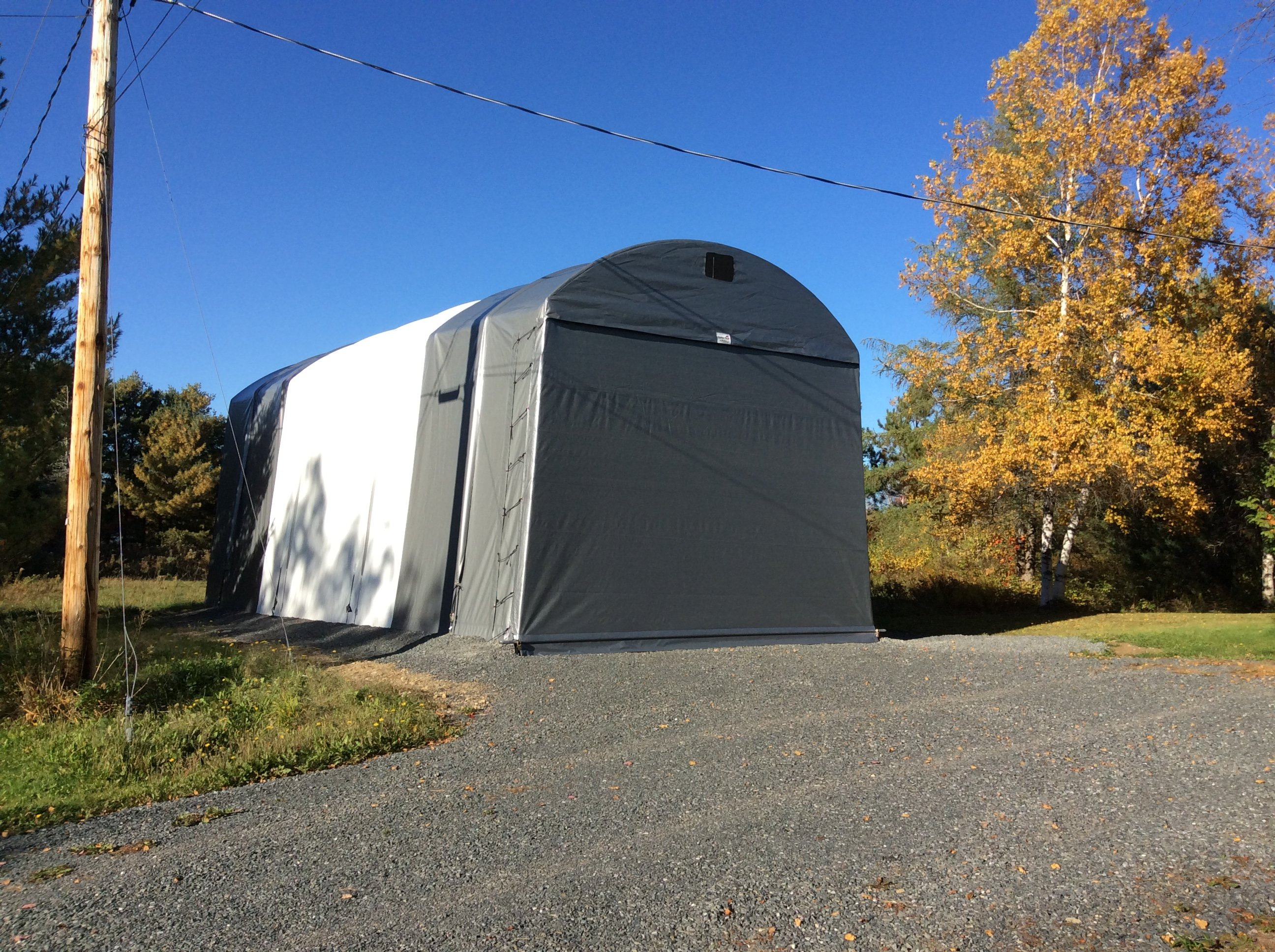 Cover tech inc one car garages two car garages rv for Rv shelter canada
