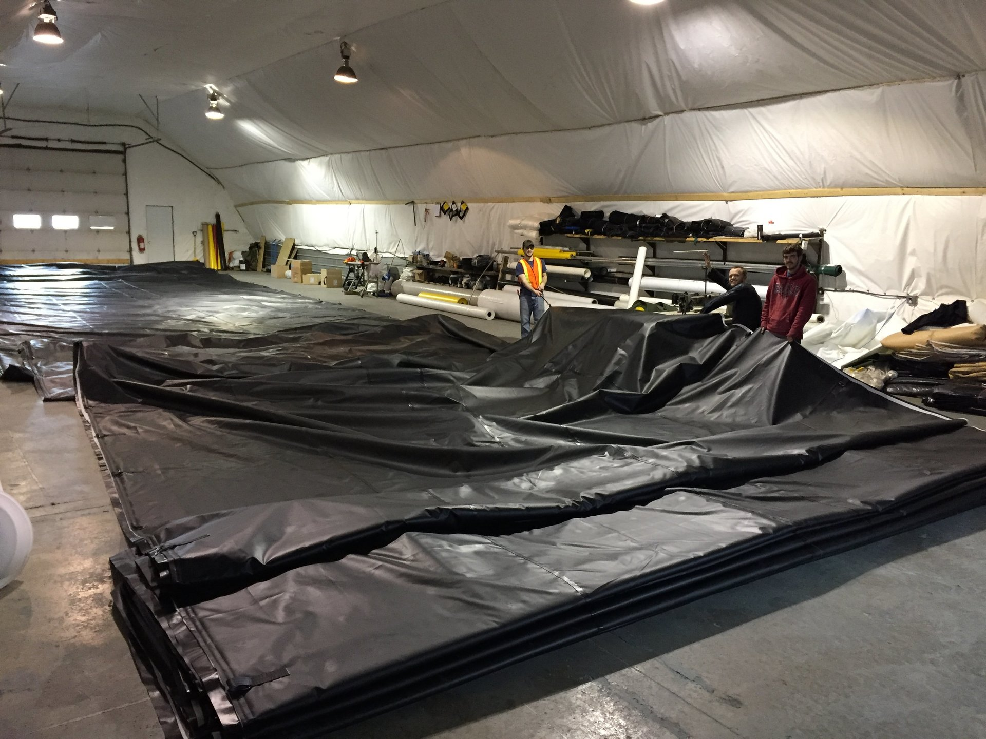 Precast insulated tarps being manufactured