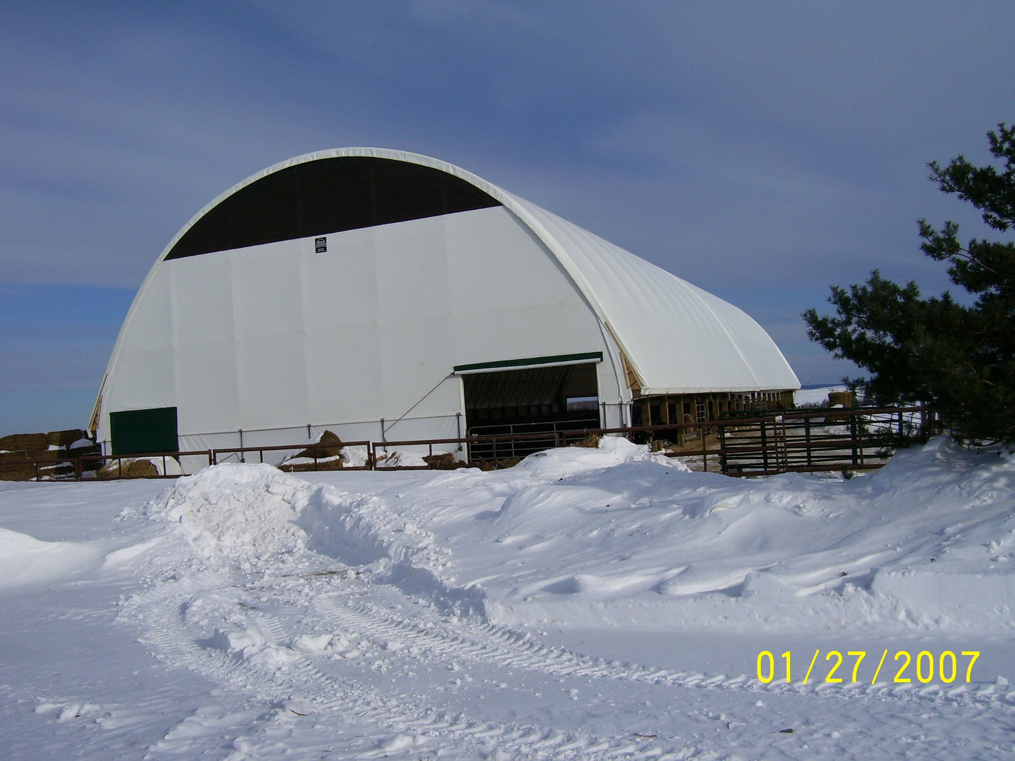 DOME BUILDINGS fabric buildings 72' x 150' cattle barn