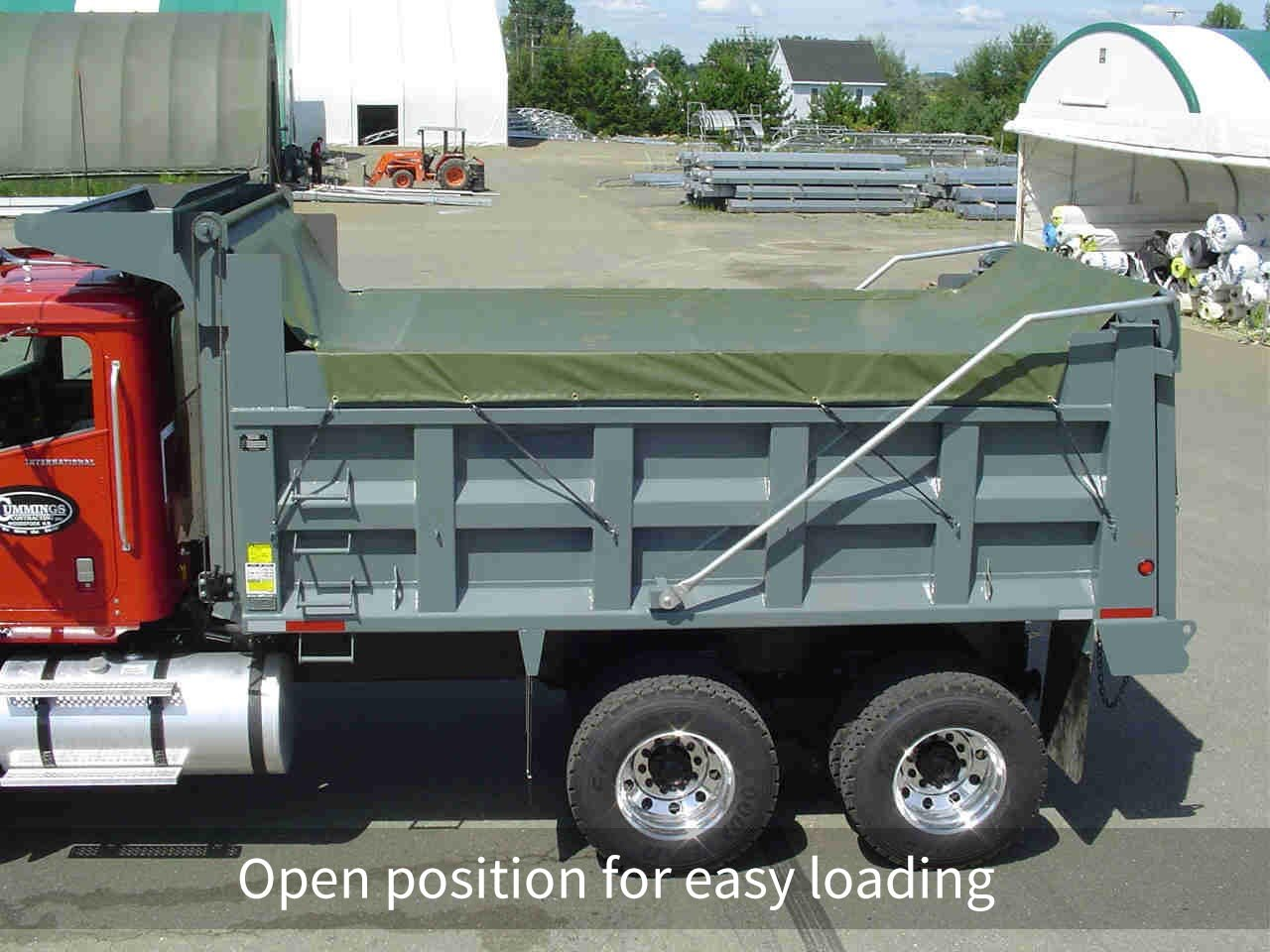 Roll tarp systems Open position for easy loading
