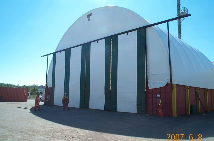 DOME BUILDINGS fabric buildings 72' x 60' container repair facility