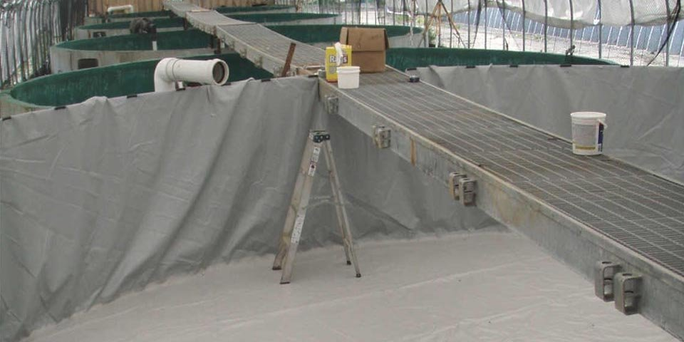 tank liner 30' in diameter with a side wall height of 5' made of our super tough 22 mil pvc