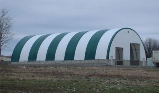 DOME BUILDINGS fabric buildings 60' x 120' salt shed with 2 front doors