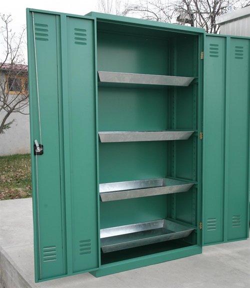 Sump tray lockable cupboard