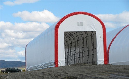 cover-tech inc. 22' x 120' with 14' high side covering scales STRAIGHT WALL BUILDINGS
