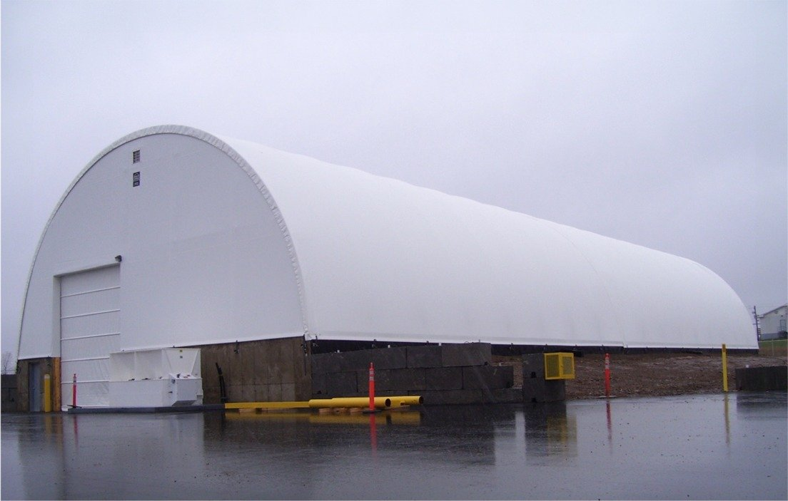 60' x 200' replacement building cover with end walls and fabric door