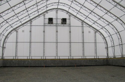 cover-tech inc. 80' x 110' salt and sand storage GOTHIC BUILDINGS