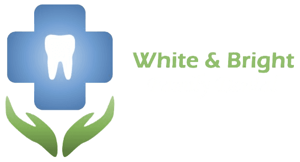 white and bright family dental logo