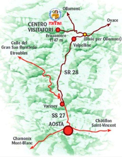 cartina centro visitatori Valpelline
