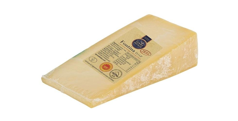 Portioned slices of fontina in supermarkets