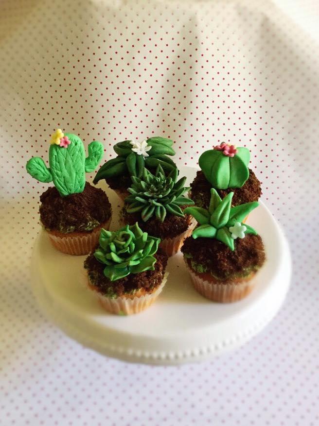 muffin a forma di piante grasse