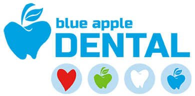 blue apple dental business logo