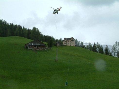 realizzazione impianti con elicottero