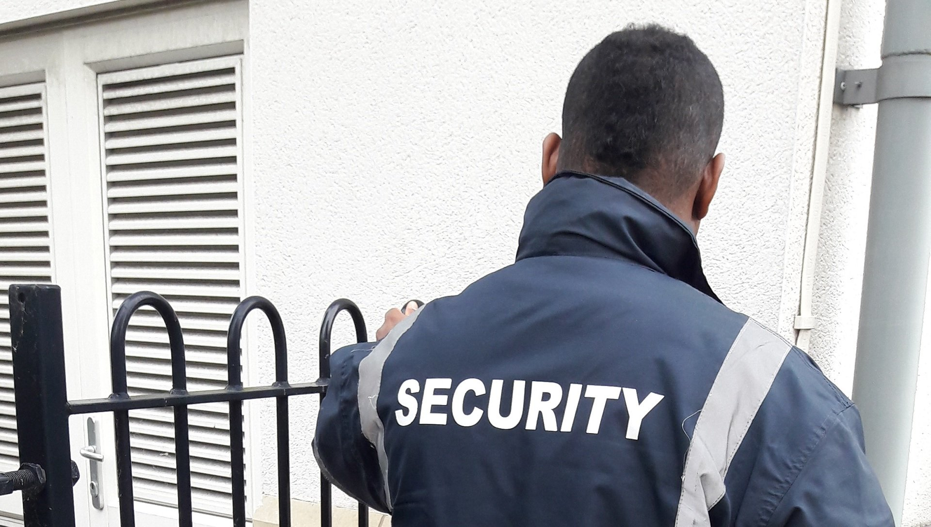 security guard talking