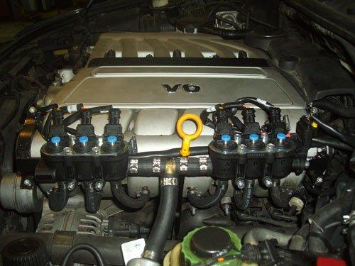 vista ravvicinata di un motore V6