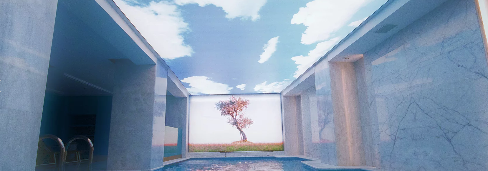 Sky printed in swimming pool stretch ceiling