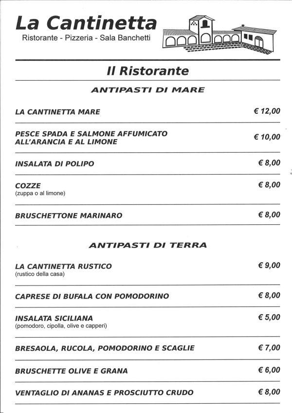 menu antipasti