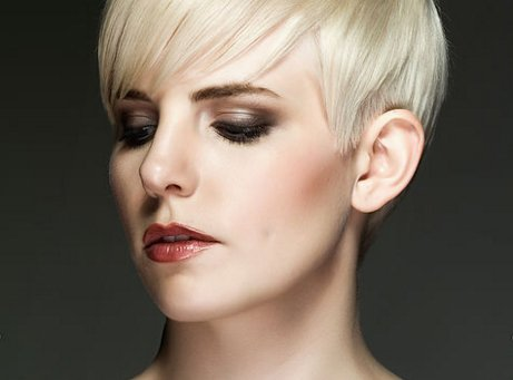 Flattering makeup and short haircut