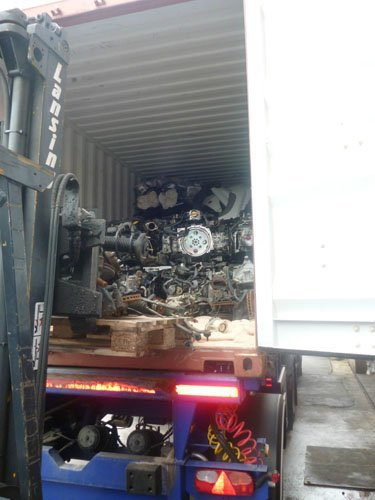 Car parts in the back of a lorry