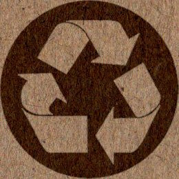 Recycling logo on brown recycled paper