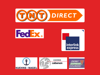 logos for TNT Direct, FedEx, Interlink Express, Kuehne + Nagel, Geodis Calberson  and DErby EXpress Couriers