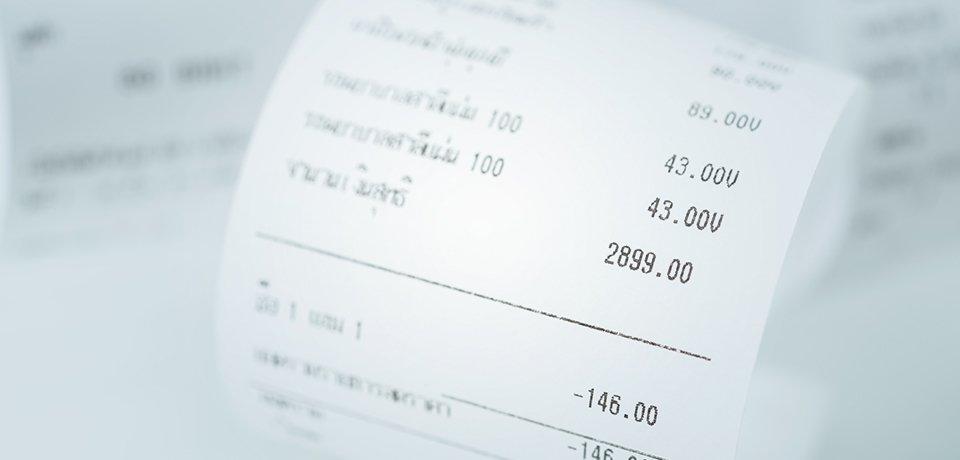 A close up of a till receipt