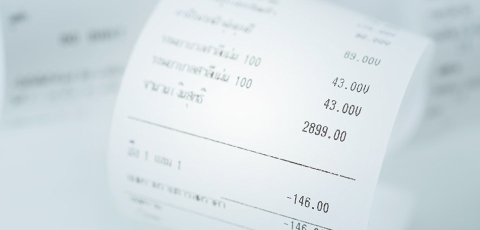 A close up of a till receipt