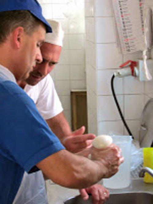 Due uomini analizzano una mozzarella fresca