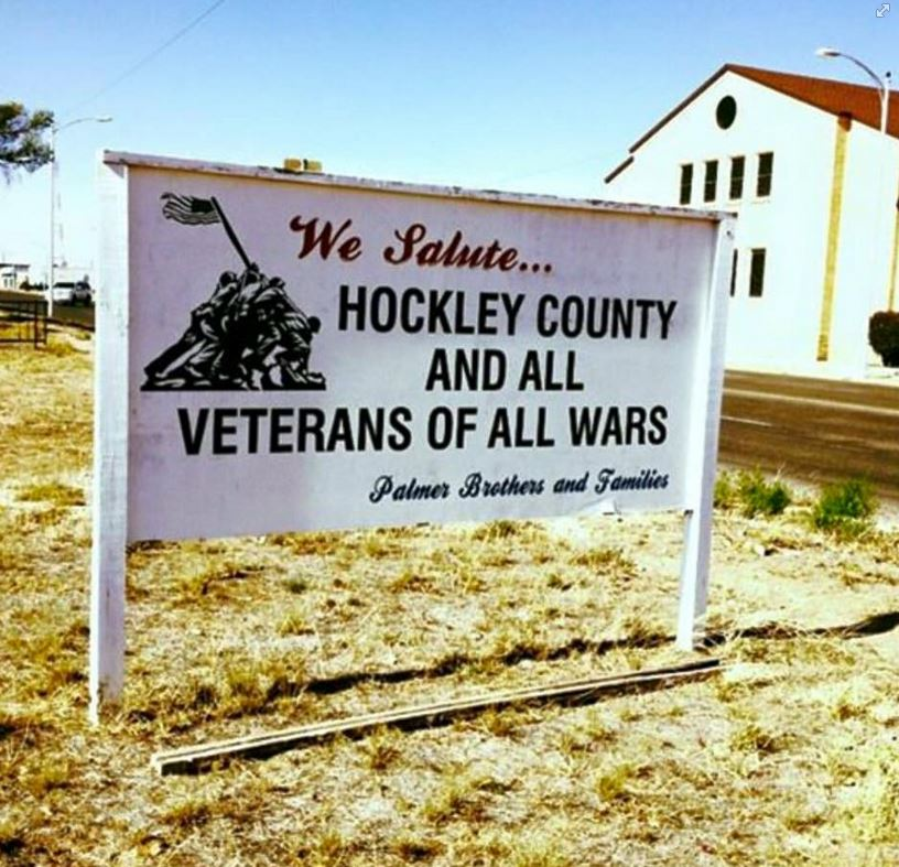Hockley County salute to veterans sign
