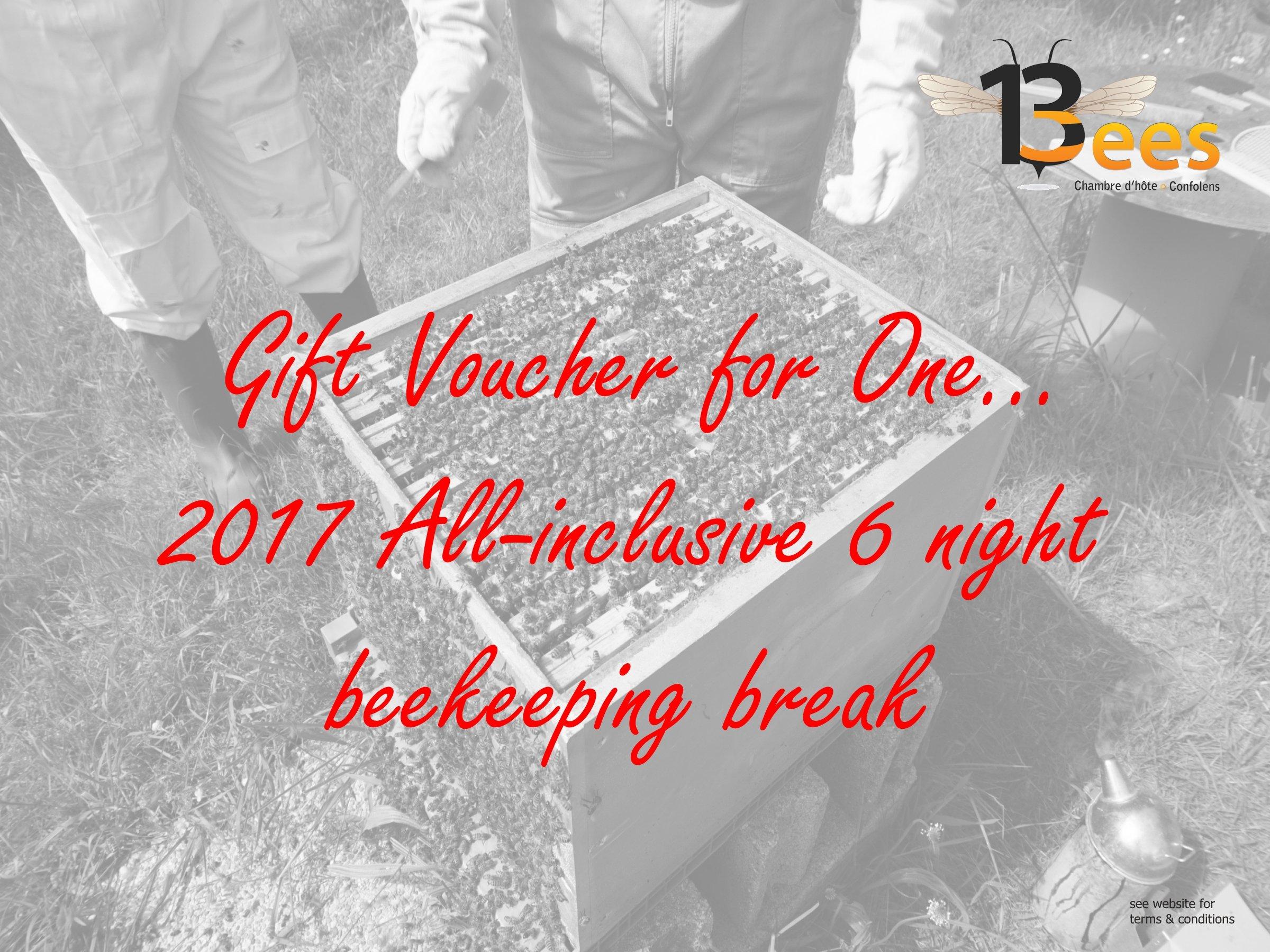 6-night beekeeping break Christmas voucher