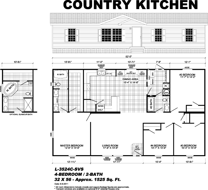 Country kitchen manufactured homes pensacola gulf for Mobile home floor plans florida