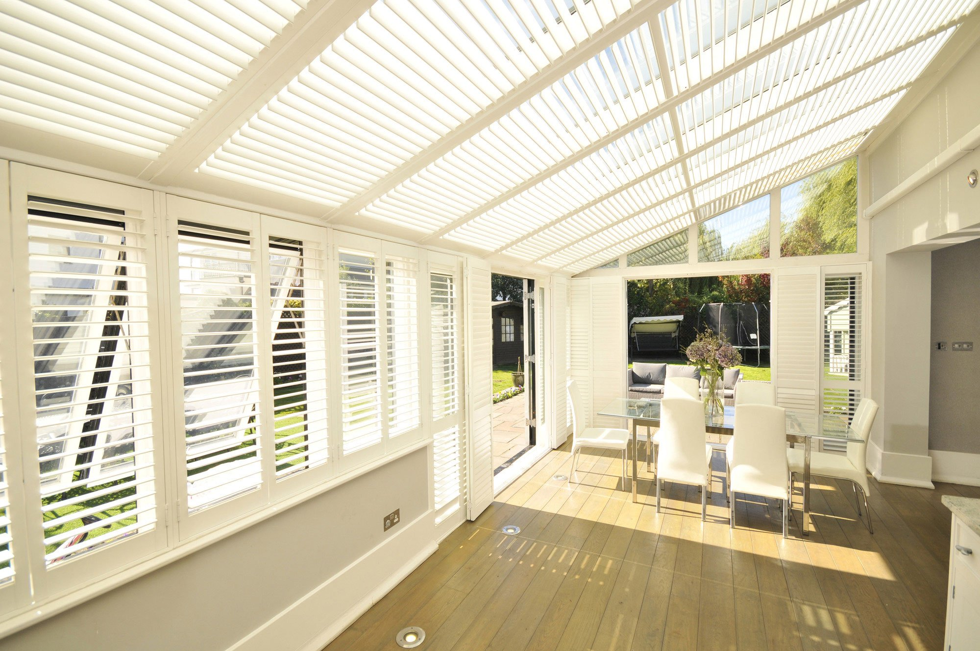 conservatory covered with blinds