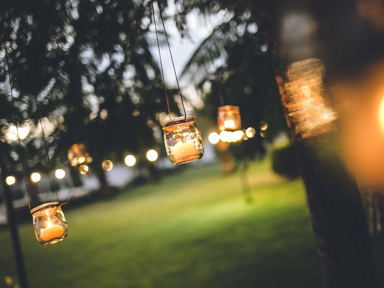 lanterne accese sugli alberi