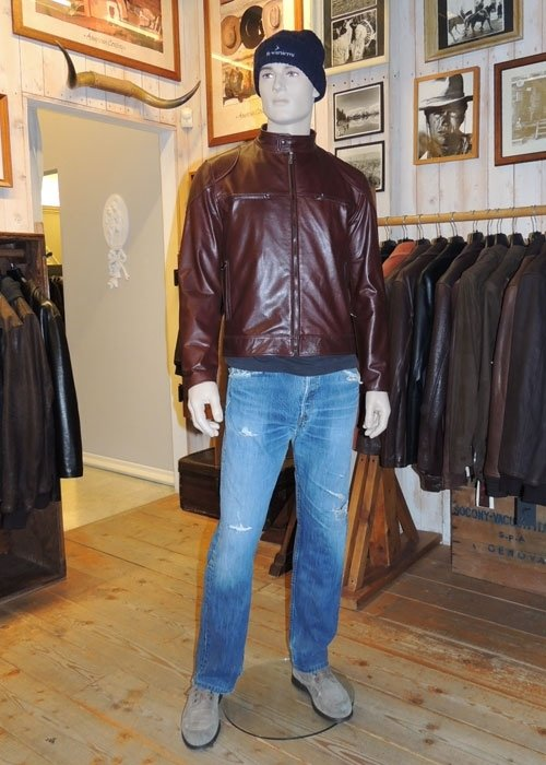 Giacca uomo in pelle bordeaux