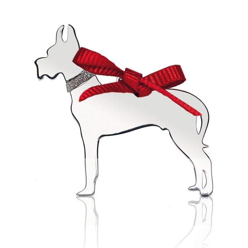 medaglietta a forma di cane con fiocchetto rosso