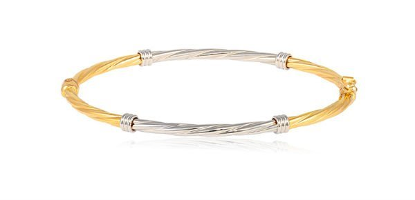 bracciale in oro giallo e bianco