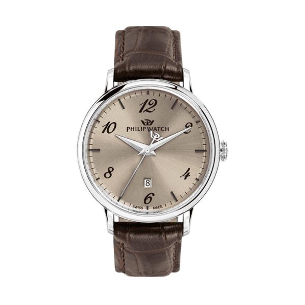 orologio in acciaio con cinturino in pelle marrone