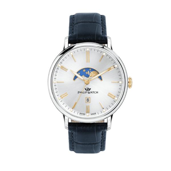 orologio in acciaio con cinturino in pelle blu