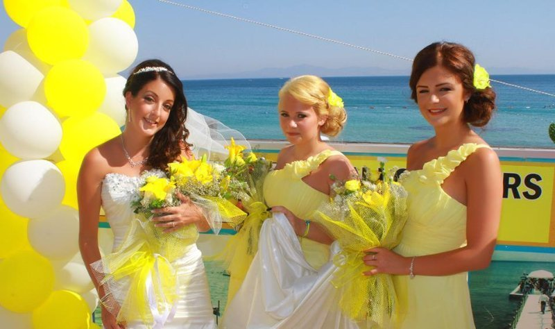 bride with 2 girls
